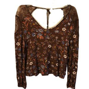 Sophie Rue Size Small Brown Floral Blouse